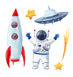 Watercolor baby space set vector