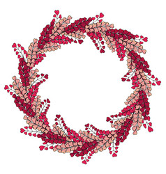 wreath is made of romantic pink herbs template vector image