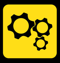yellow black sign - three cogwheel icon vector image