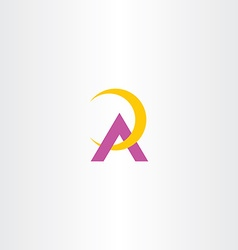 Yellow purple a letter logotype logo symbol a icon vector