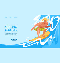 Young man riding surf board ocean waves banner vector