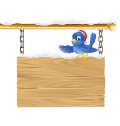 bluebird christmas sign vector image vector image