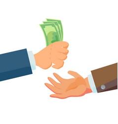 businessman hands giving money salesman vector image