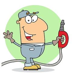 Caucasian Cartoon Gas Station Attendant Man vector image