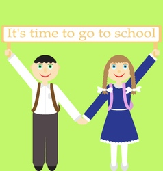Children with sign its time to go to school vector