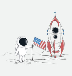 cute spaceman on moon vector image vector image