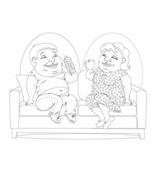 fat people on the couch white and black vector image vector image