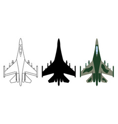 Fighter aircraft silhouette cartoon outline vector