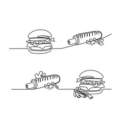 set continuous big hamburger with french fries vector image vector image