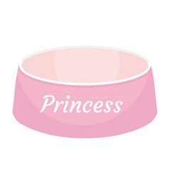 pink dog food bowl with an inscription princess vector image