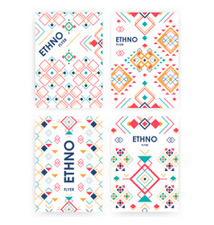set of background with geometric ethnic ornament vector image