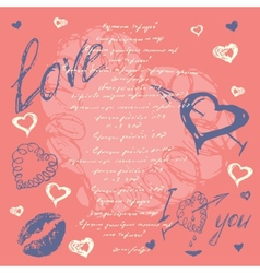 Doodle Valentines day postcard with hand drawn vector image vector image