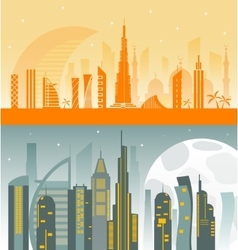 Dubai City skyline detailed silhouette vector image vector image