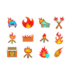 fire icon set cartoon style vector image