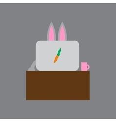 Flat icon on gray background rabbit cartoon vector