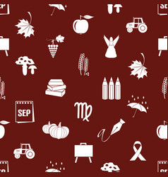 september month theme set of icons red pattern vector image vector image