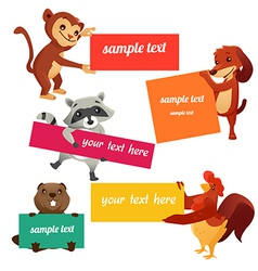 Set of labels with animals vector image vector image