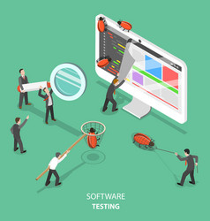 software testing flat isometric concept vector image