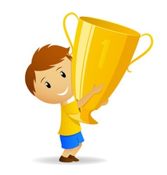 cartoon young winner with golden trophy cup vector image