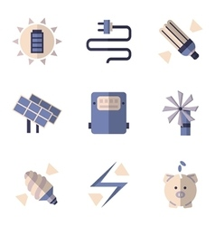 Flat color icons for energy savings vector image vector image