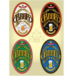 set of four oval labels for beer vector image vector image