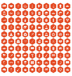 100 exotic animals icons hexagon orange vector