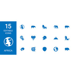 15 africa icons vector image