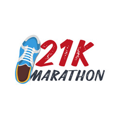 21k marathon run event with sneakers vector