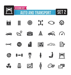 30 icons set auto and transport isolated on the vector image vector image