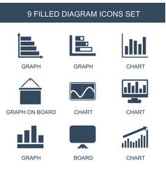 9 diagram icons vector