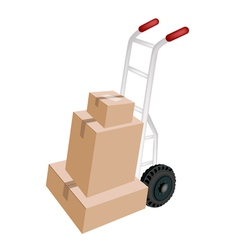 A Hand Truck Loading Stack of Shipping Boxes vector