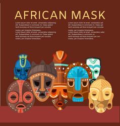 African mask cartoon flat vector