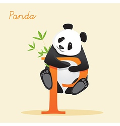 Animal alphabet with panda vector
