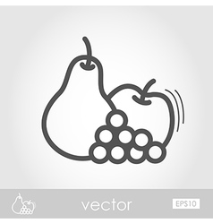 Apple Grapes and Pear outline icon Thanksgiving vector image