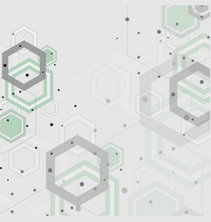 Beautiful pattern of green and gray hexagons vector