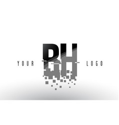 Bh b h pixel letter logo with digital shattered vector