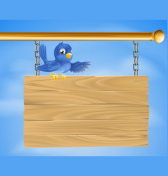 blue bird on wooden sign vector image
