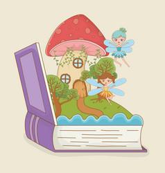 Book open with fairytale scene fungus with fairies vector