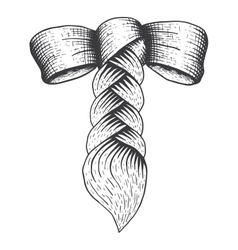 Braid with a bow in engraving style vector