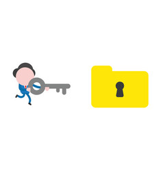 businessman running and holding key to unlock vector image