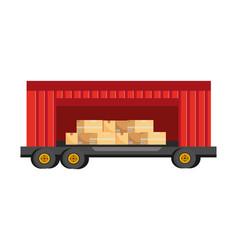 cargo truck vehicle container cartoon vector image