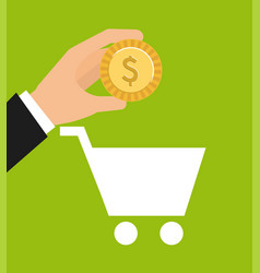 Cart shopping money icon vector