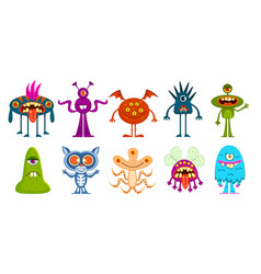 cartoon monsters cute little goblins and gremlins vector image