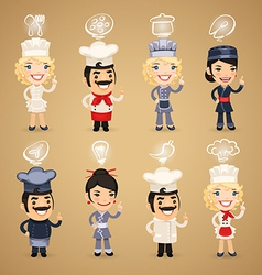 chefs with simbols set vector image