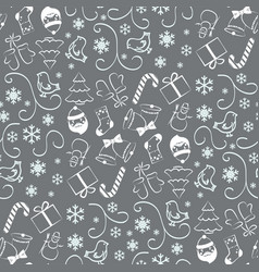 christmas seamless pattern on gray background vector image
