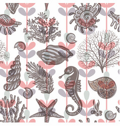 Colorful seamless pattern with sea horse shell vector