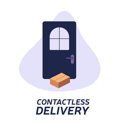 Contactless delivery left at door during the vector