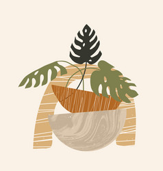 Contemporary aesthetic composition with monstera vector