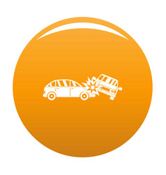 Crashed car icon orange vector