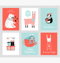 Cute christmas cards with animals celebrating vector